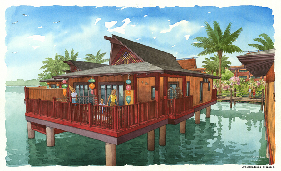 Concept art of Bungalows at Disney's Polynesian Villas and Bungalows