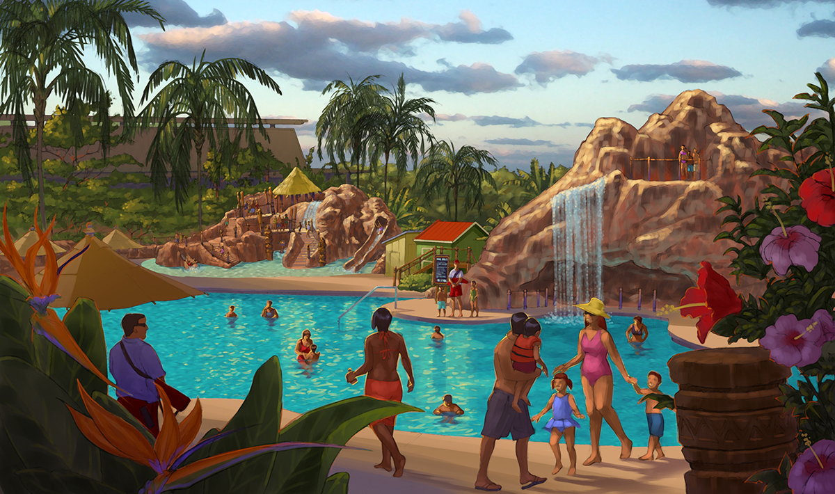 Concept art of the new Lava Pool at Disney's Polynesian Village Resort