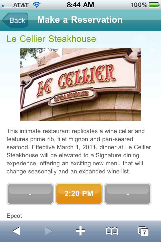 Mobile dining reservations iPhone screen shots