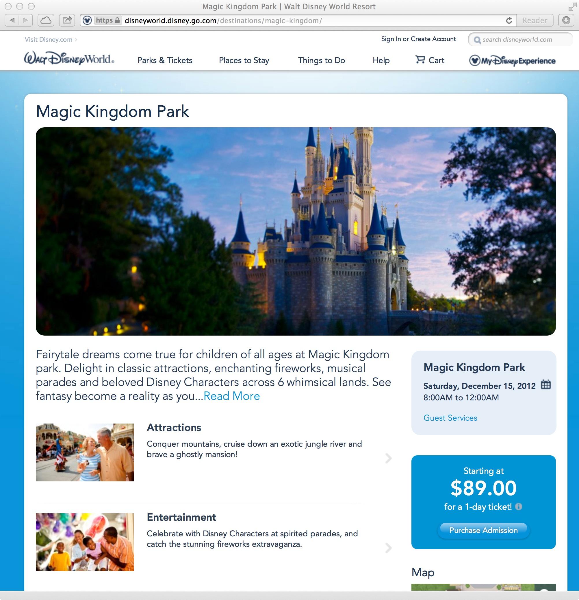 New official Walt DIsney World website