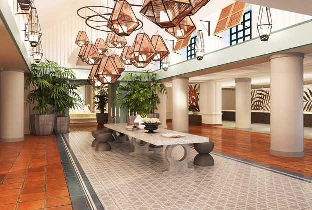 Concept art of the new lobby at Walt Disney World Swan