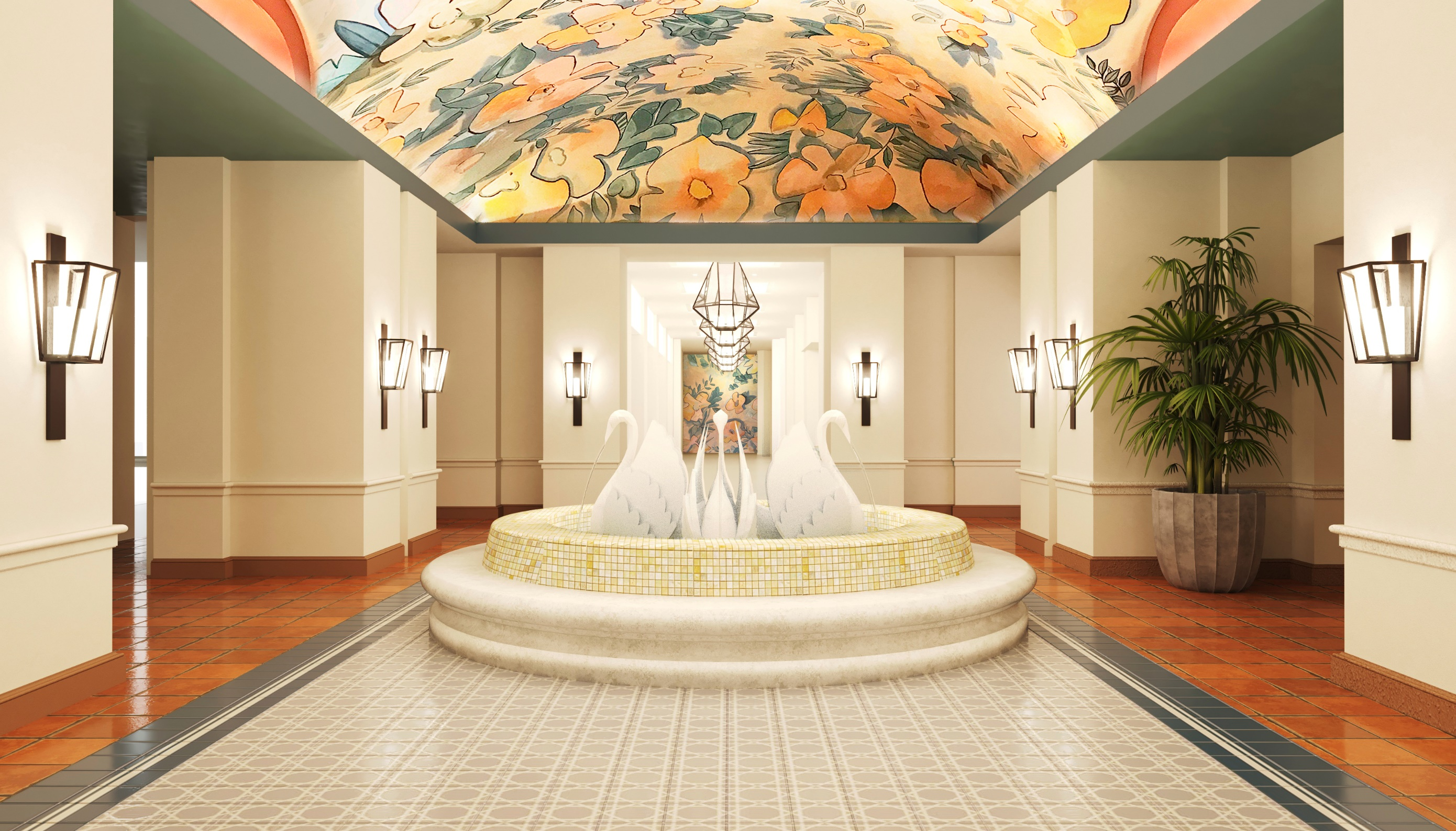 Concept art of the new lobby at Walt Disney World Swan