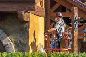 PHOTOS - Exterior refurbishment underway at Bonjour Village Gifts in New Fantasyland