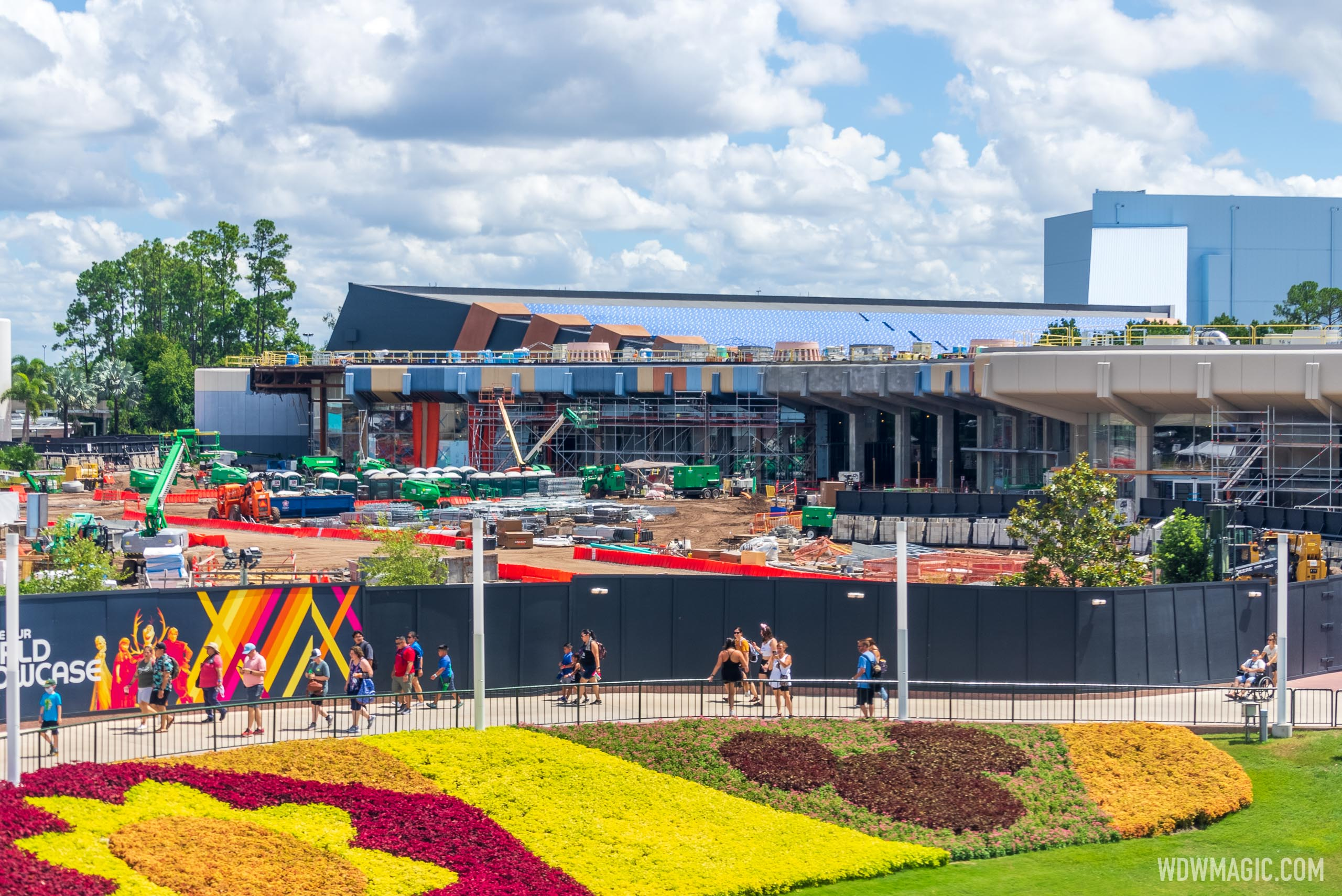 Monorail view of Creations Shop and Club Cool construction at EPCOT