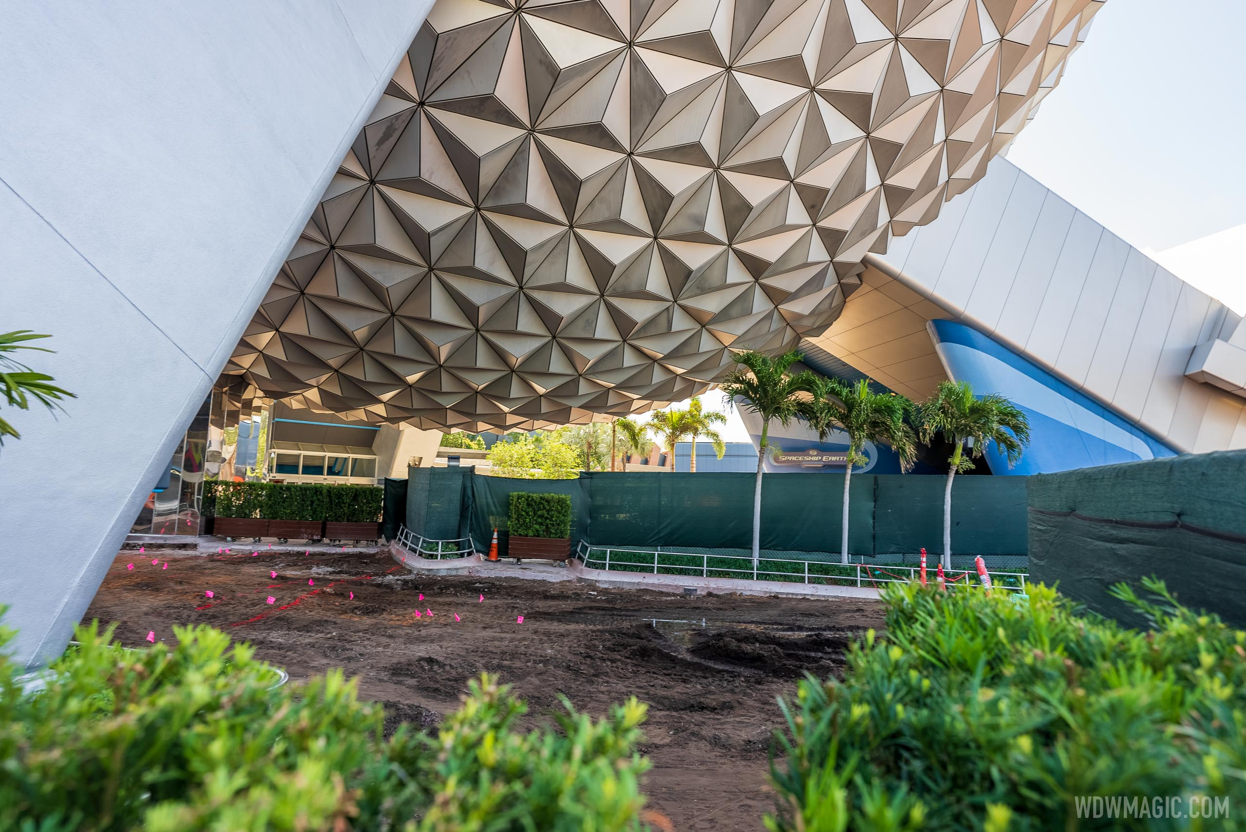 A look at the concrete work underway beneath Spaceship Earth alongside 'Pin Traders and Camera Center'
