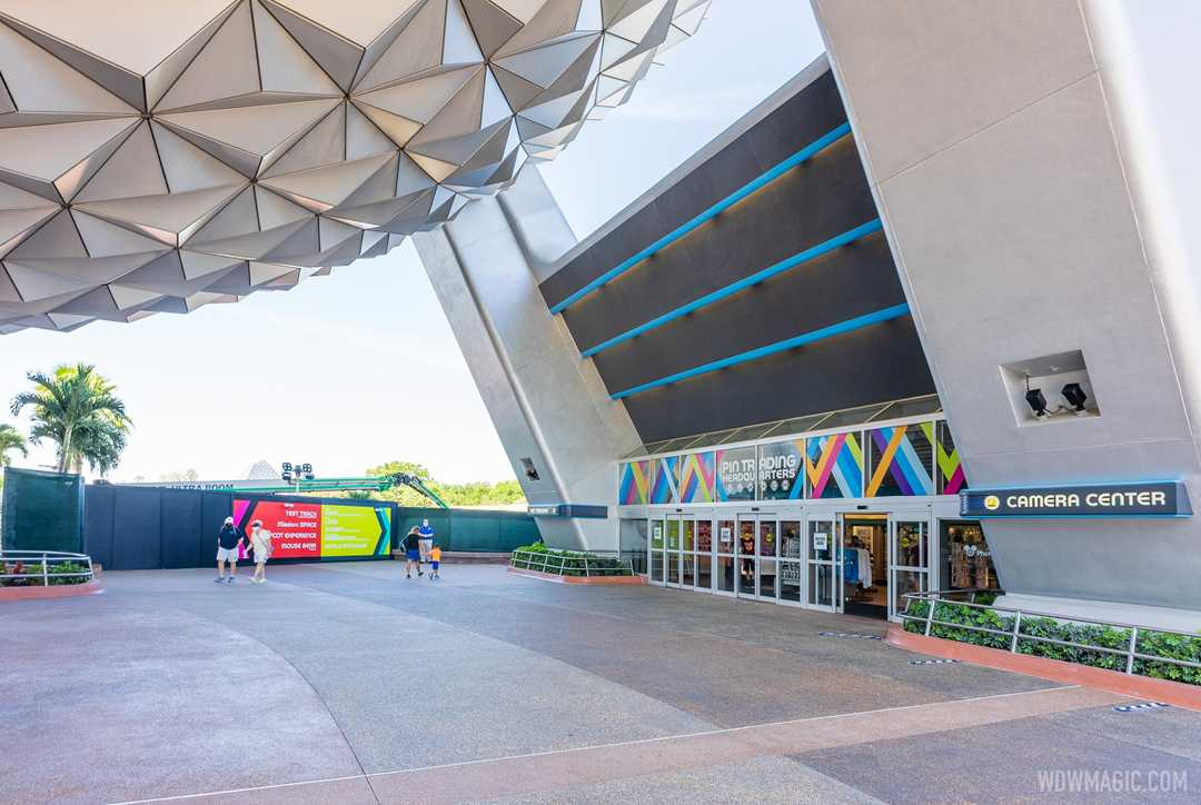 A look at the concrete work progress beneath Spaceship Earth at EPCOT