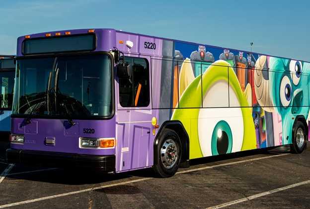 Disney Movie Character Bus wraps