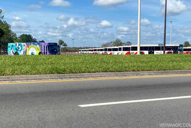 Walt Disney World Bus fleet parked during Coronavirus closure