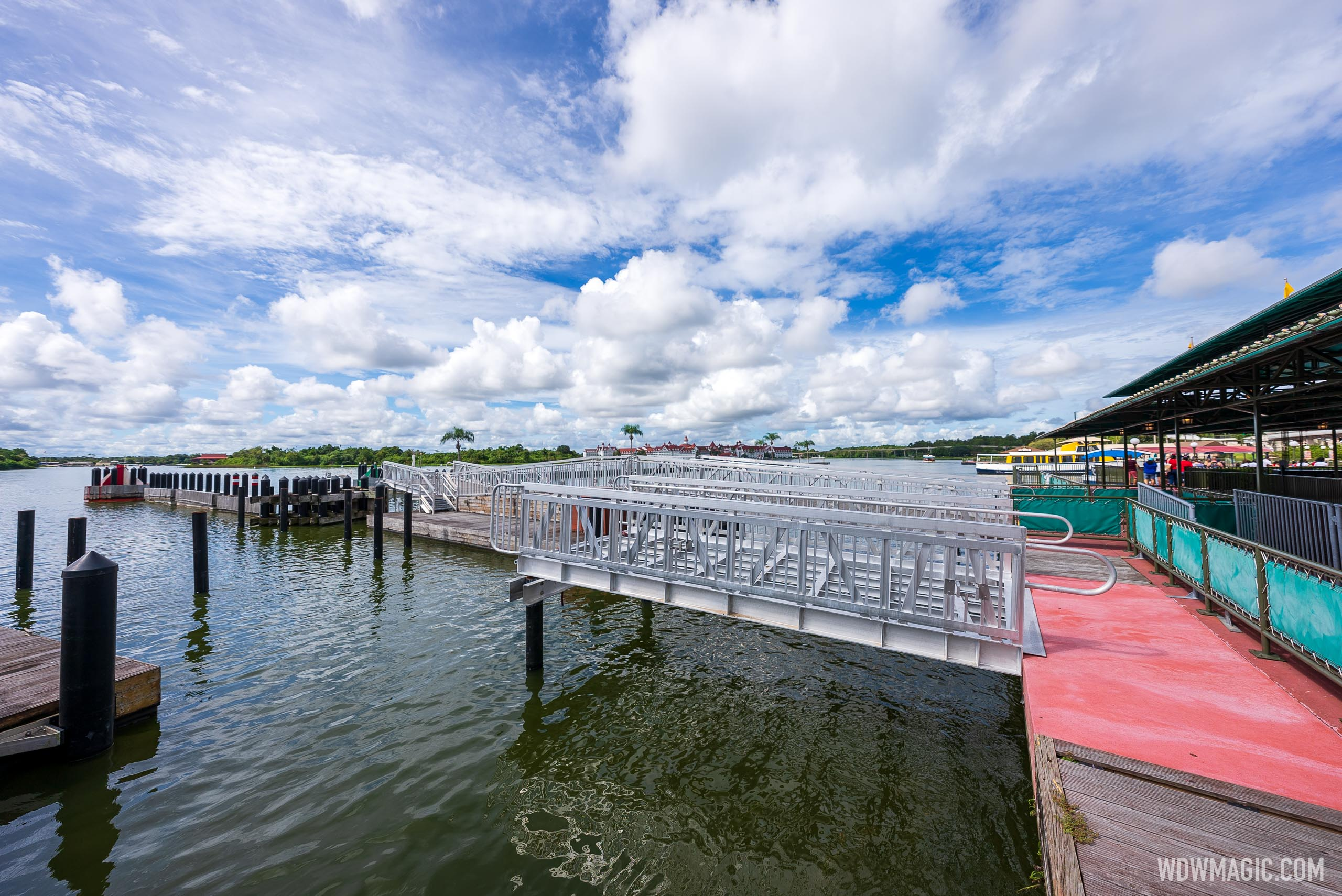 Gangway installation underway at the Magic Kingdom ferry boat dock for second level access