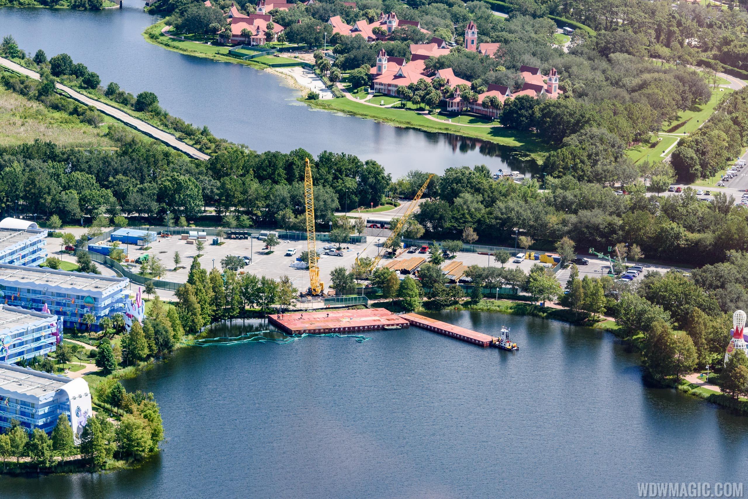 Disney Skyliner construction at Pop Century Resort