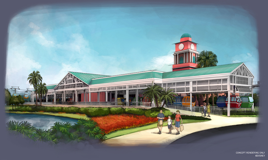 Disney Skyliner station at Caribbean Beach Resort