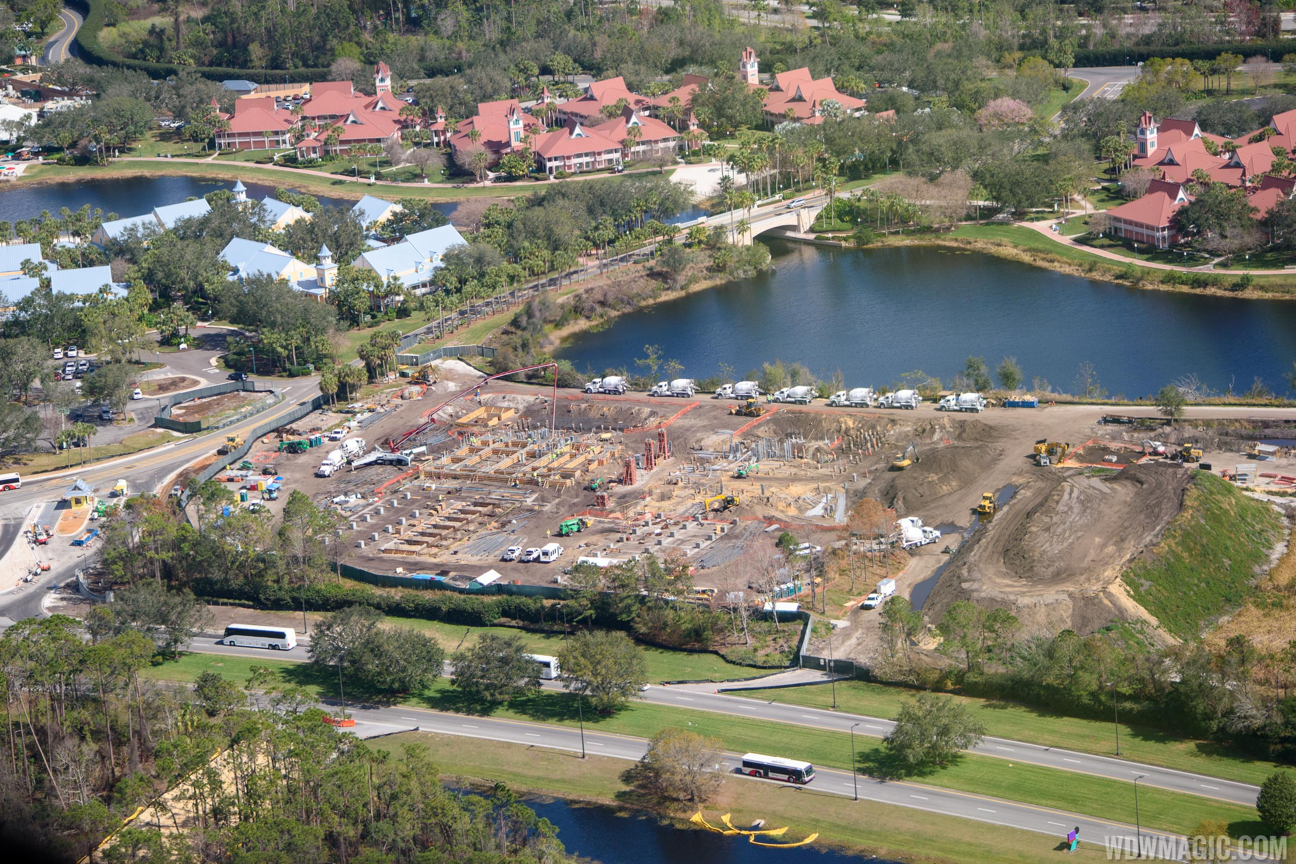 Disney Skyliner station at Caribbean Beach Resort construction
