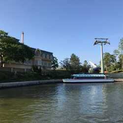 Disney Skyliner tower at Epcot's World Showcase