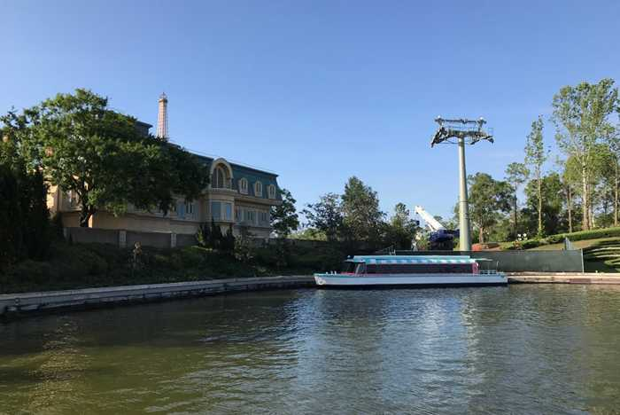 Disney Skyliner tower at Epcot's World Showcase