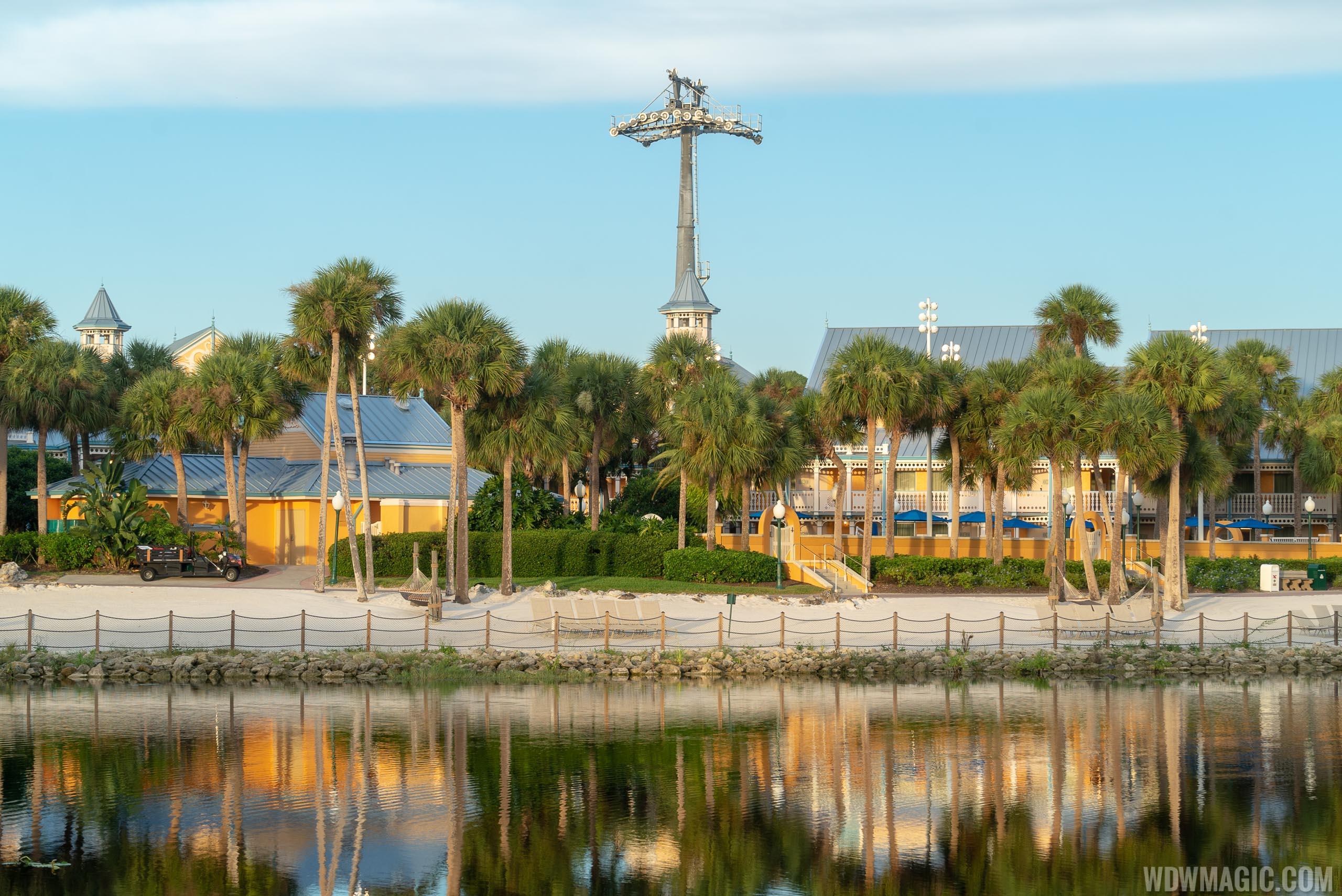Disney Skyliner towers at Caribbean Beach Resort