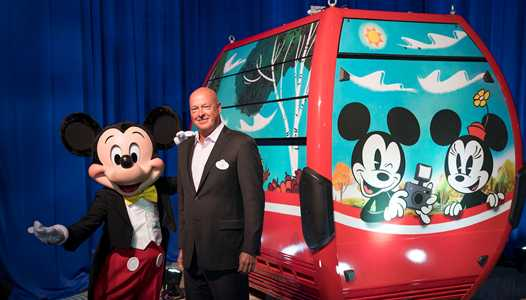 Disney Parks Chairman Bob Chapek unveils the first Disney Skyliner gondola