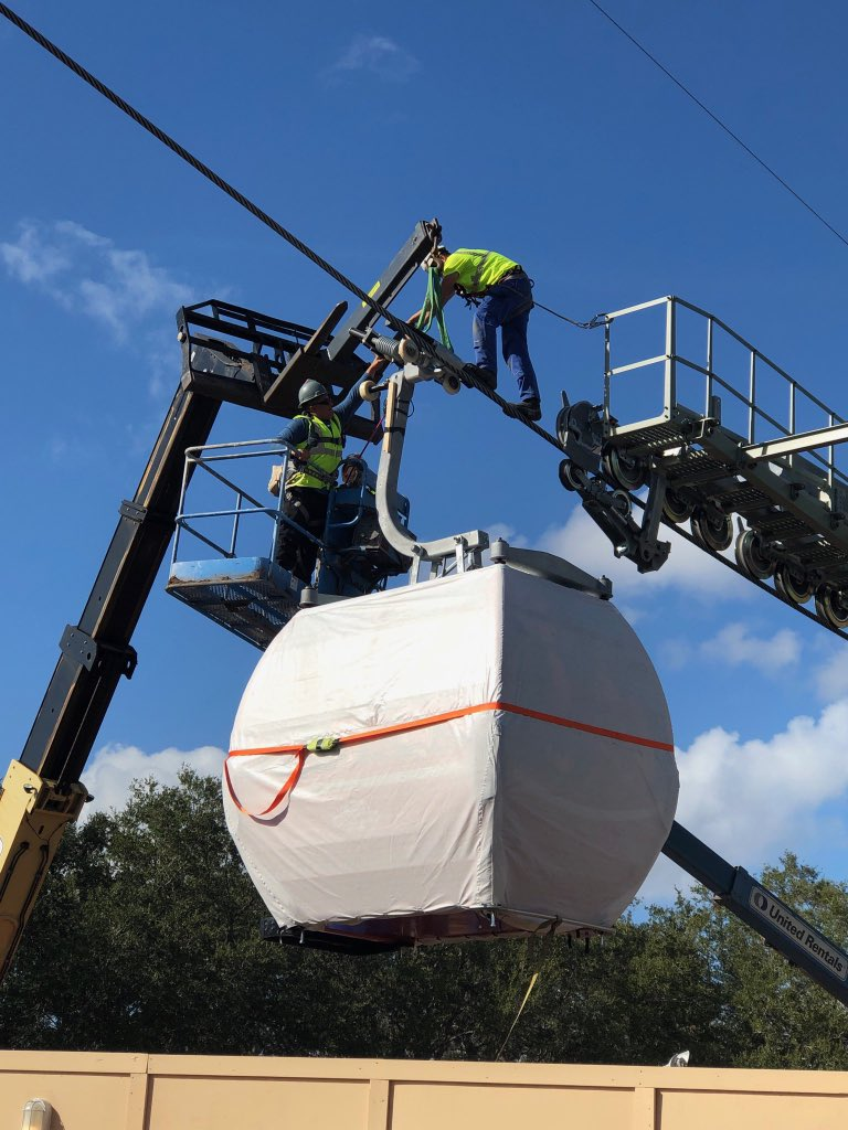 Disney Skyliner gondola installation at Epcot's International Gateway