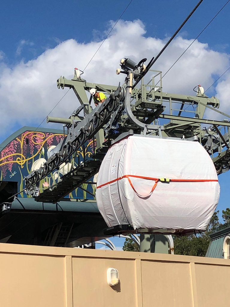 First Disney Skyliner gondolas take to the wires
