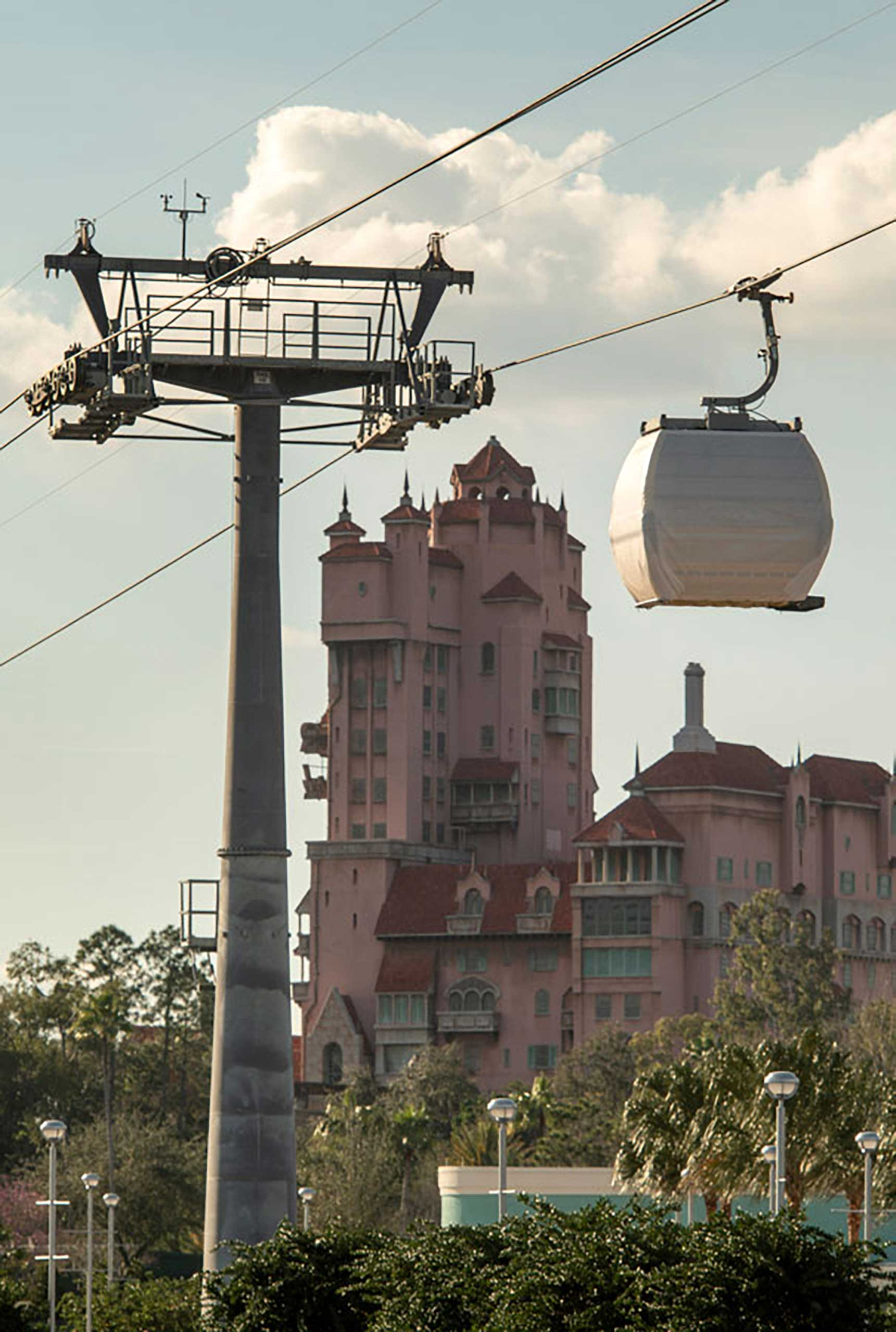 Disney Skyliner guest gondola testing