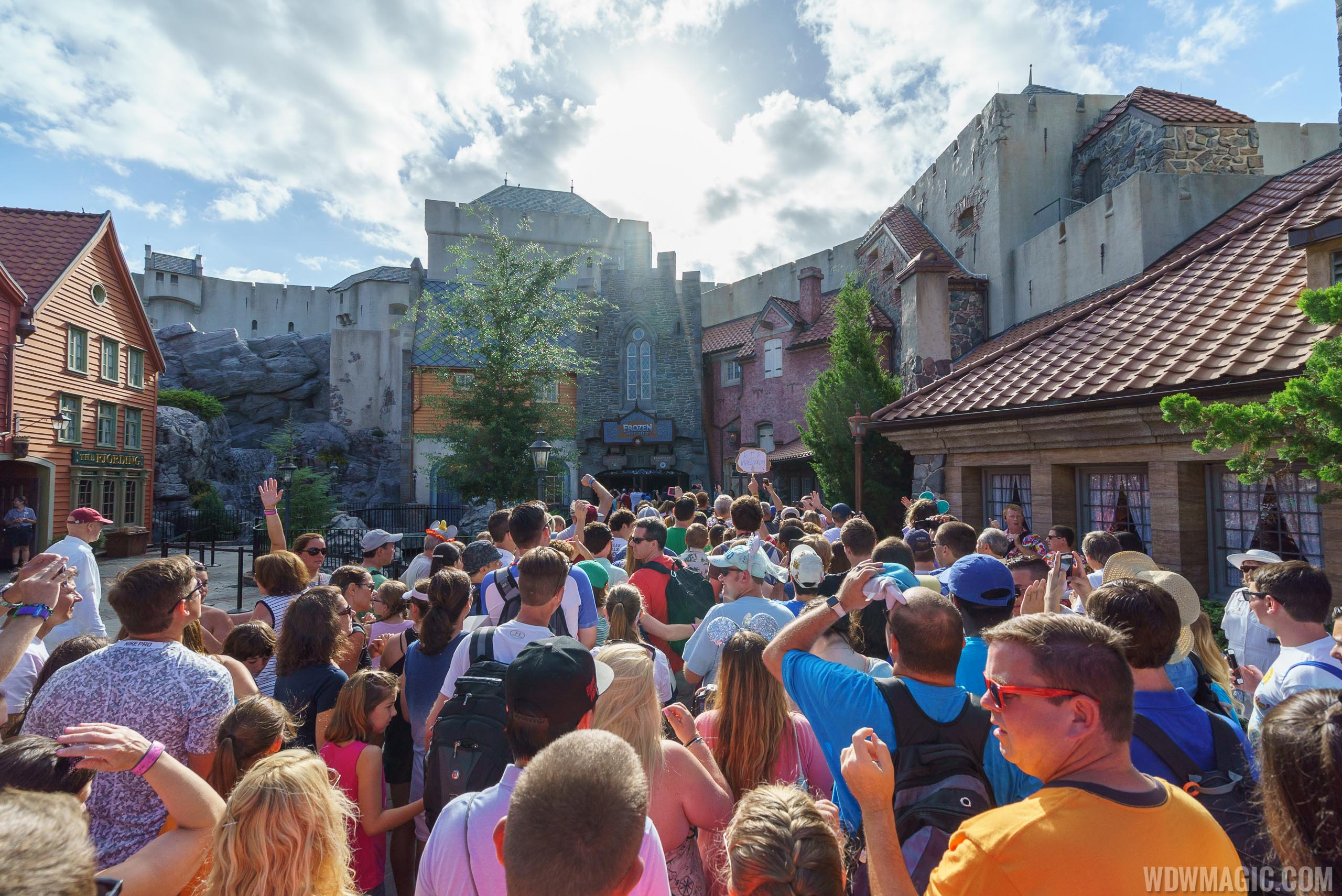 Long line at the opening of Frozen Ever After in Epcot