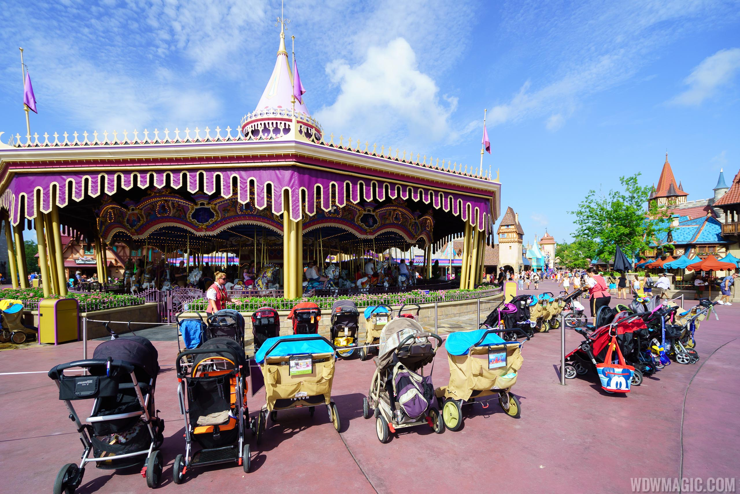 Stroller parking in Fantasyland at the Magic Kingdom