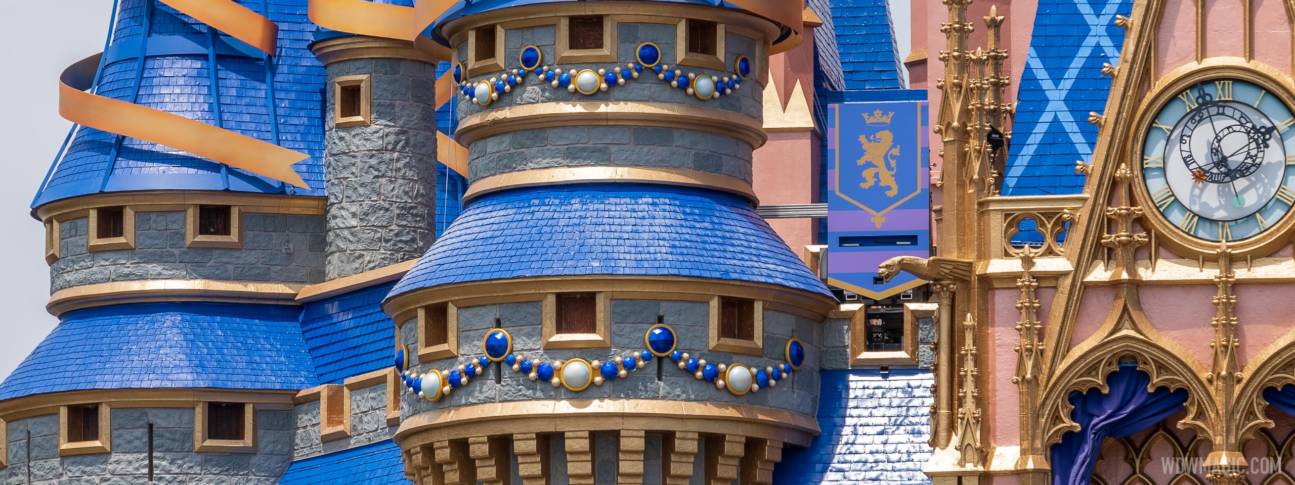 More ribbons and jewels adorn the spires of Cinderella Castle as preparations for Disney World's 50th continue