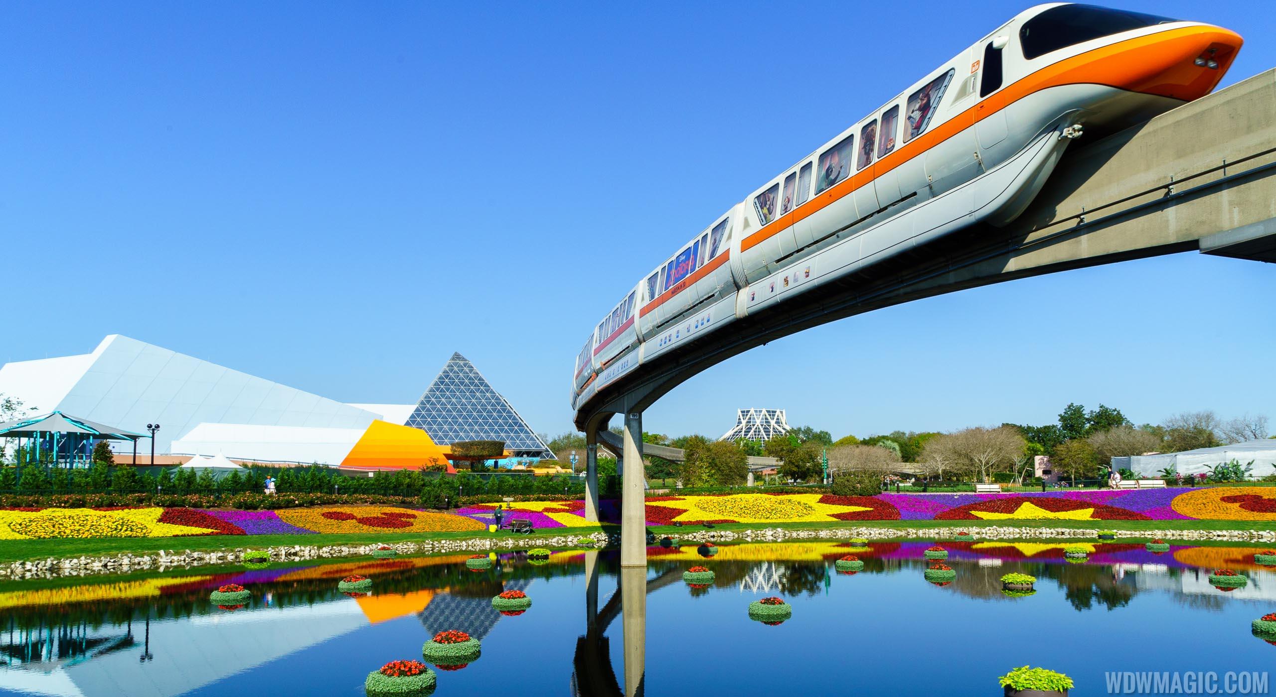 Monorail Orange glides above the Flower & Garden Festival