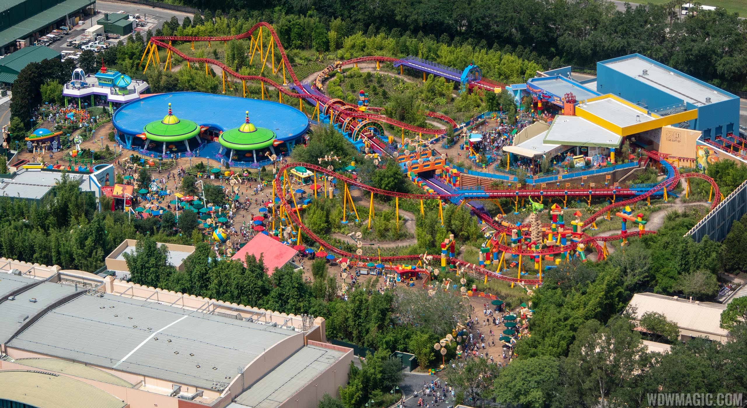 Aerial views of the completed Toy Story Land